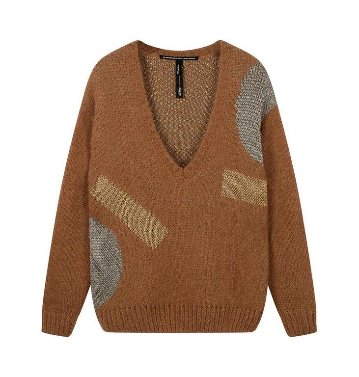 10Days 10Days Caramel sweater v-neck big ten 20-607-0203