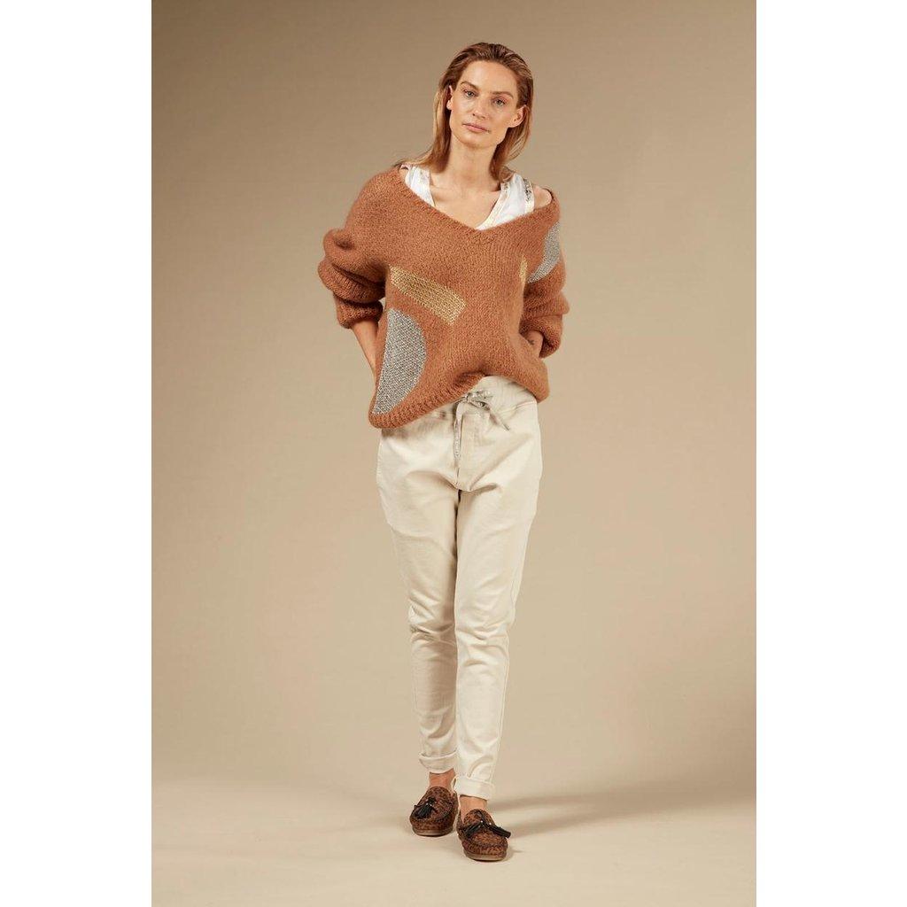 10Days Caramel sweater v-neck big ten 20-607-0203