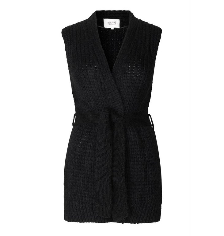 Second Female Second Female Black Sonia Knit Waistcoat 54256