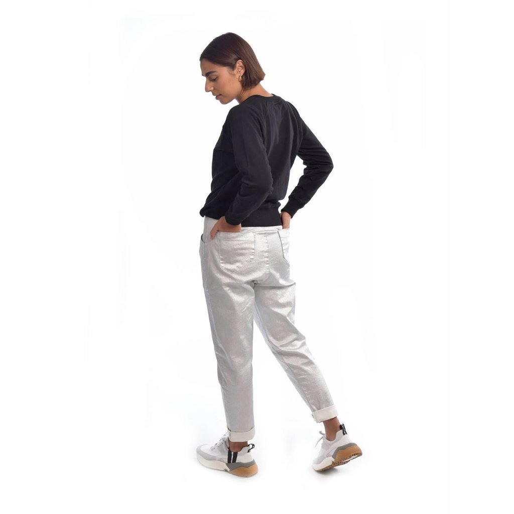 10Days Silver high waist denim metallic 20-061-0204