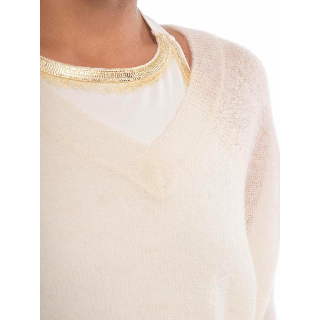 10Days Off White thin sweater v-neck 20-605-0204