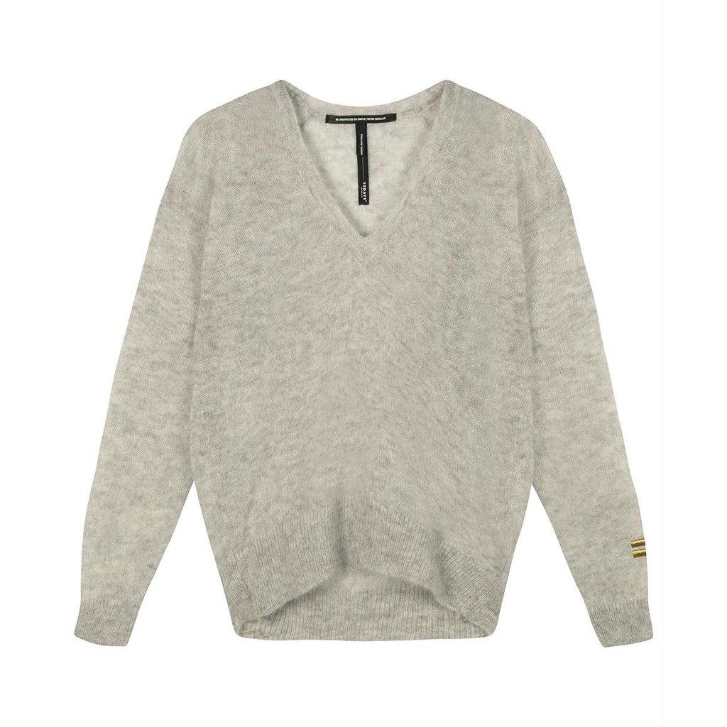 10Days Light Grey Melee thin sweater v-neck 20-605-0204