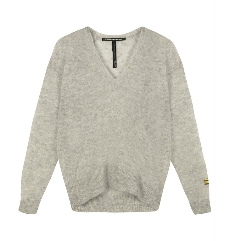 10Days 10Days Light Grey Melee thin sweater v-neck 20-605-0204