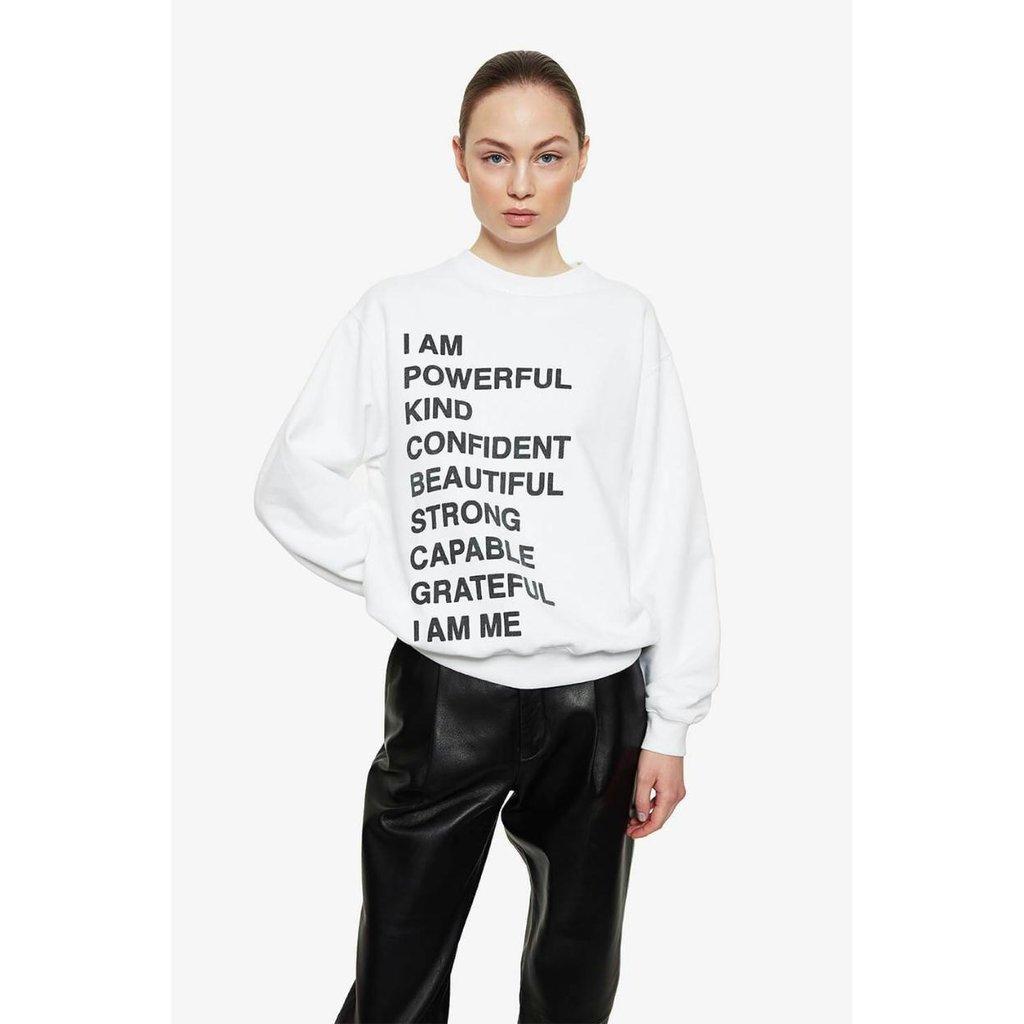 Anine Bing White Ramona Sweatshirt Empowerment #A-08-5055-109