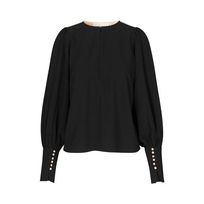 Notes du Nord Black/Beige Sheena Recycled Blouse 12056