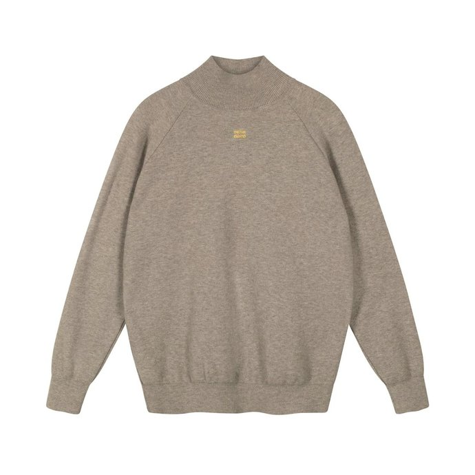 10Days Light Grey Melee knitted high neck sweater 20-604-1201