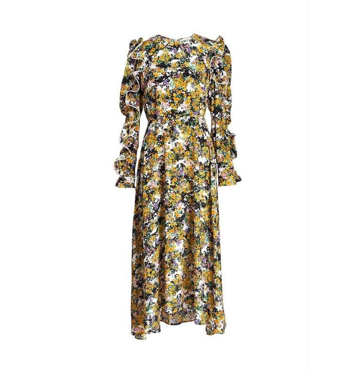 Essentiel Antwerp Essentiel Antwerp Yellow Printed Ruffled Sleeve Dress Zilby