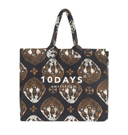 10Days 10Days Dark Grey Blue canvas bag ethnic 20-961-1201