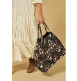 10Days Dark Grey Blue canvas bag ethnic 20-961-1201