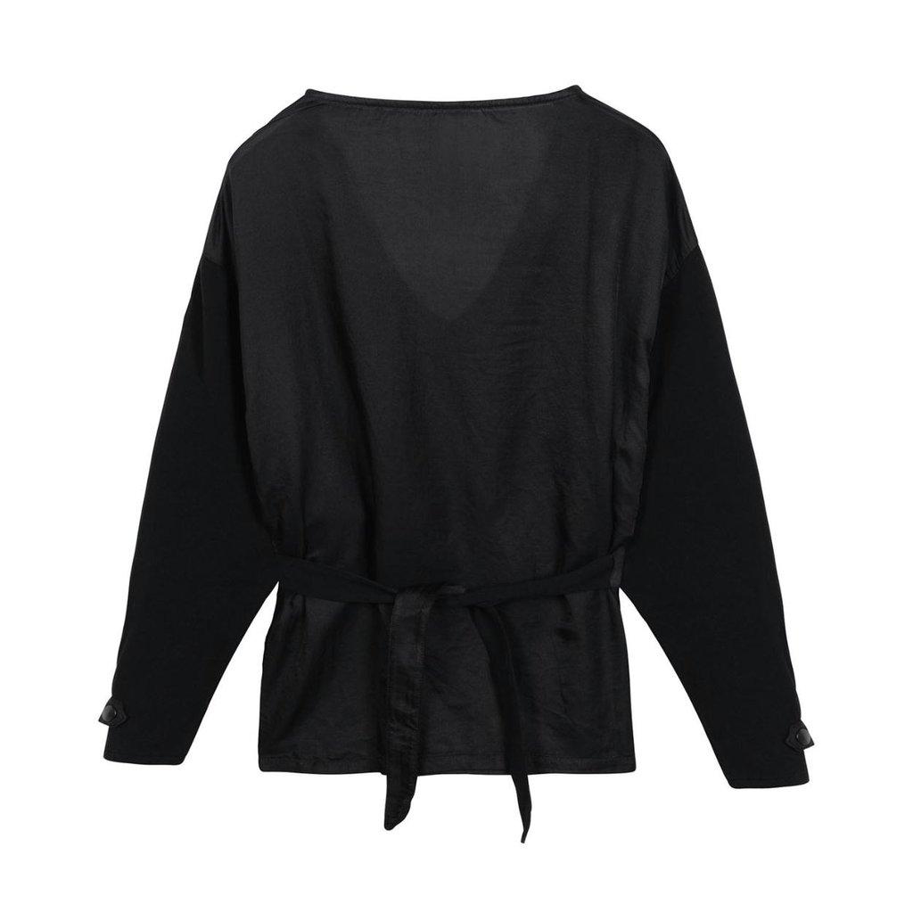 10Days Black belted top silk fleece 20-405-1201