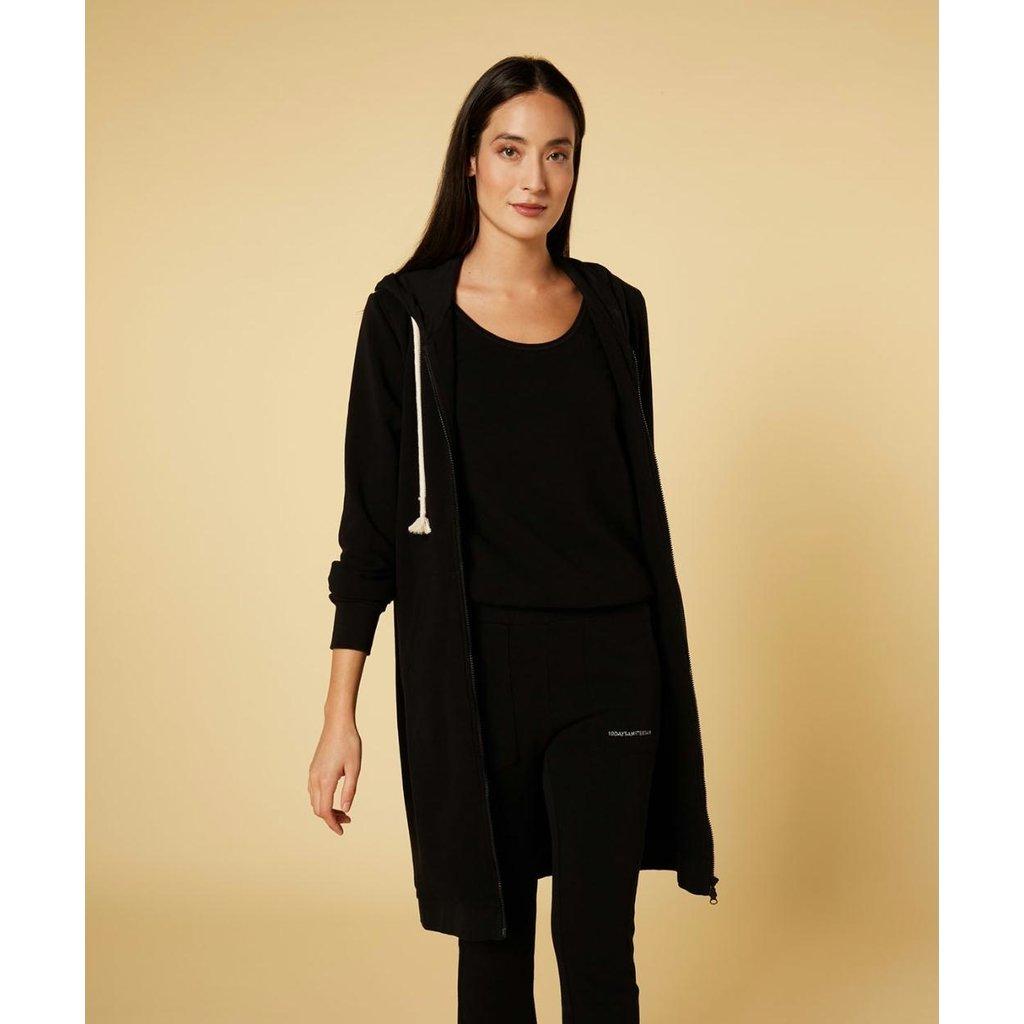 10Days Black long hoodie cardigan 20-853-1201