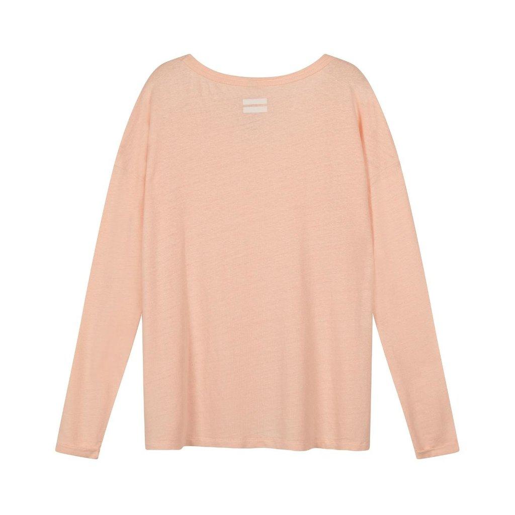 10Days Light Pink longsleeve tee linen 20-778-1201