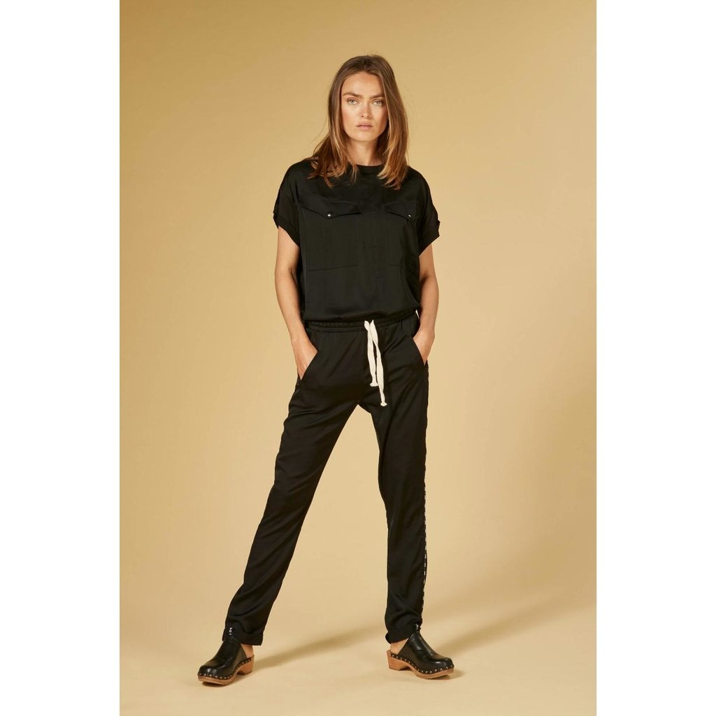 10Days Black easy pants shiny 20-014-1201