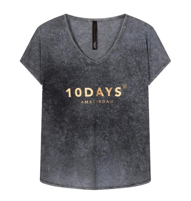 10Days 10Days Dark Grey Blue tee fade out 20-751-1201