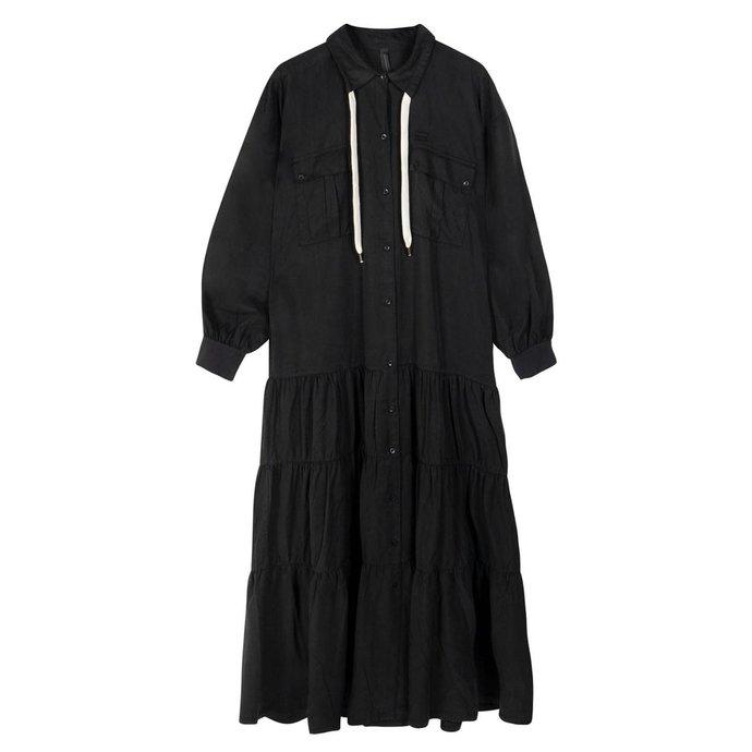 10Days Black maxi shirt dress 20-334-1201