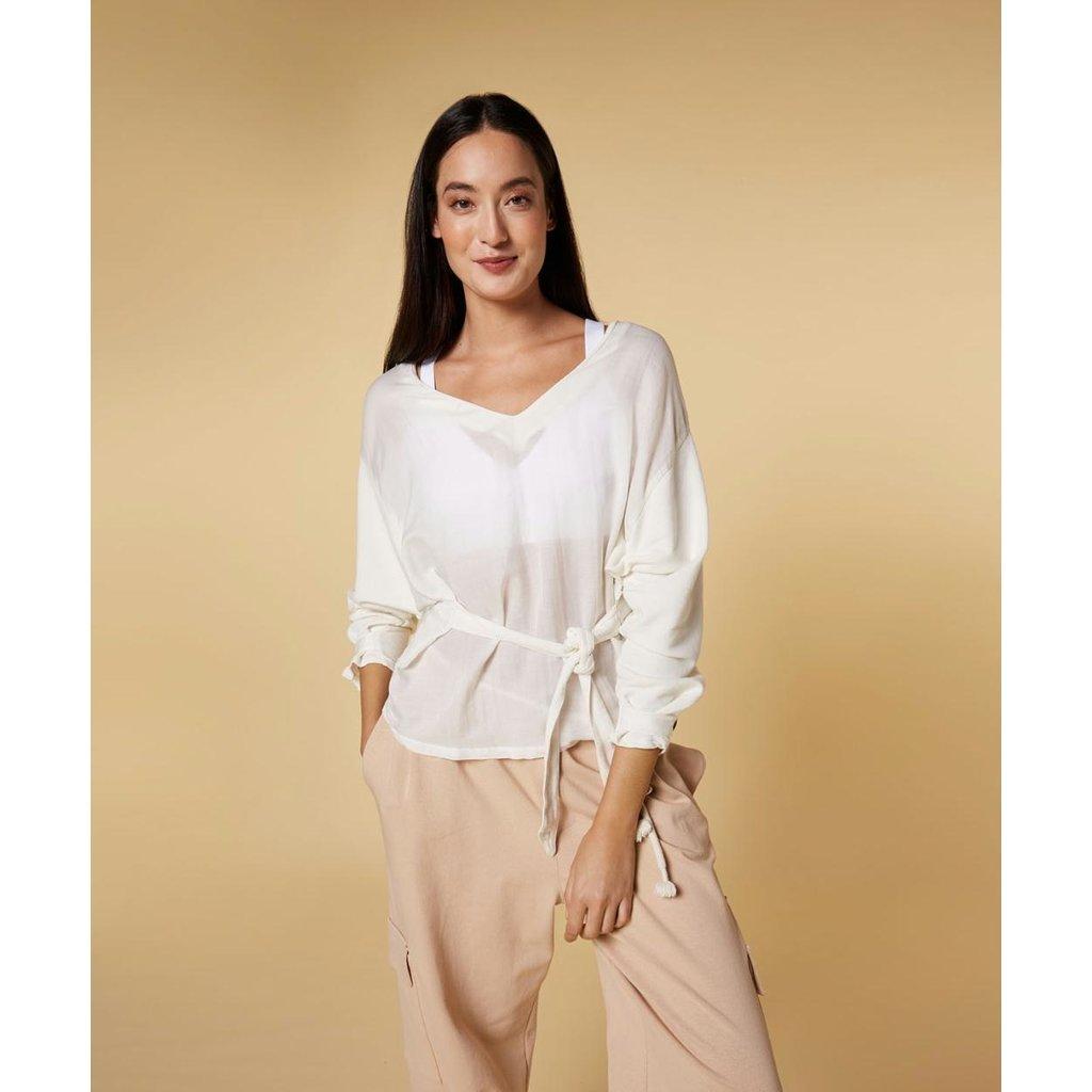 10Days Ecru belted top silk fleece 20-405-1201