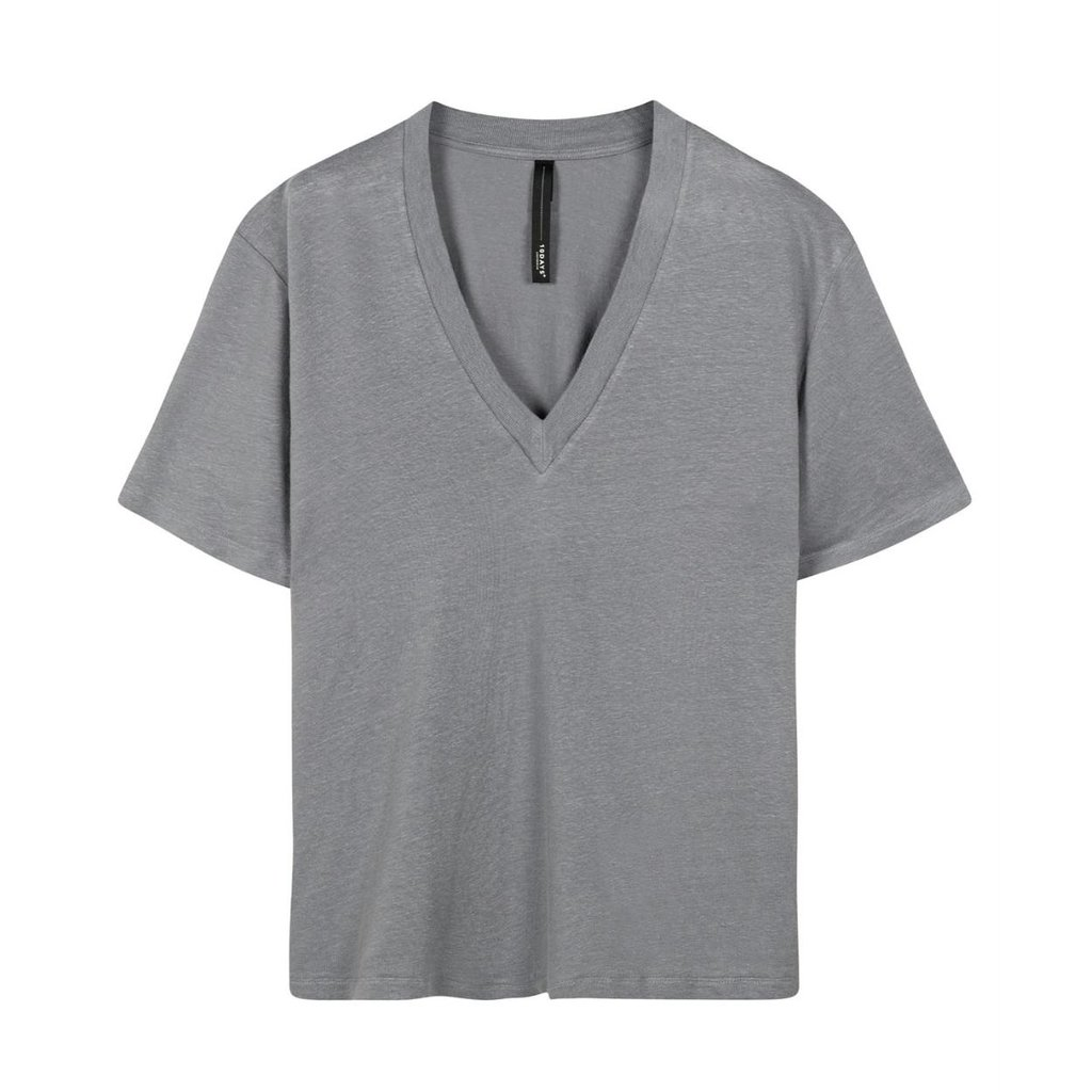10Days Grey Blue v-neck tee linen 20-748-1201
