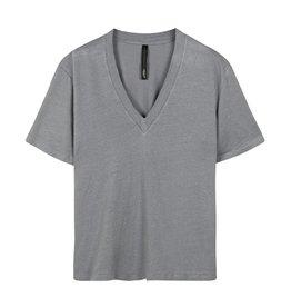 10Days 10Days Grey Blue v-neck tee linen 20-748-1201