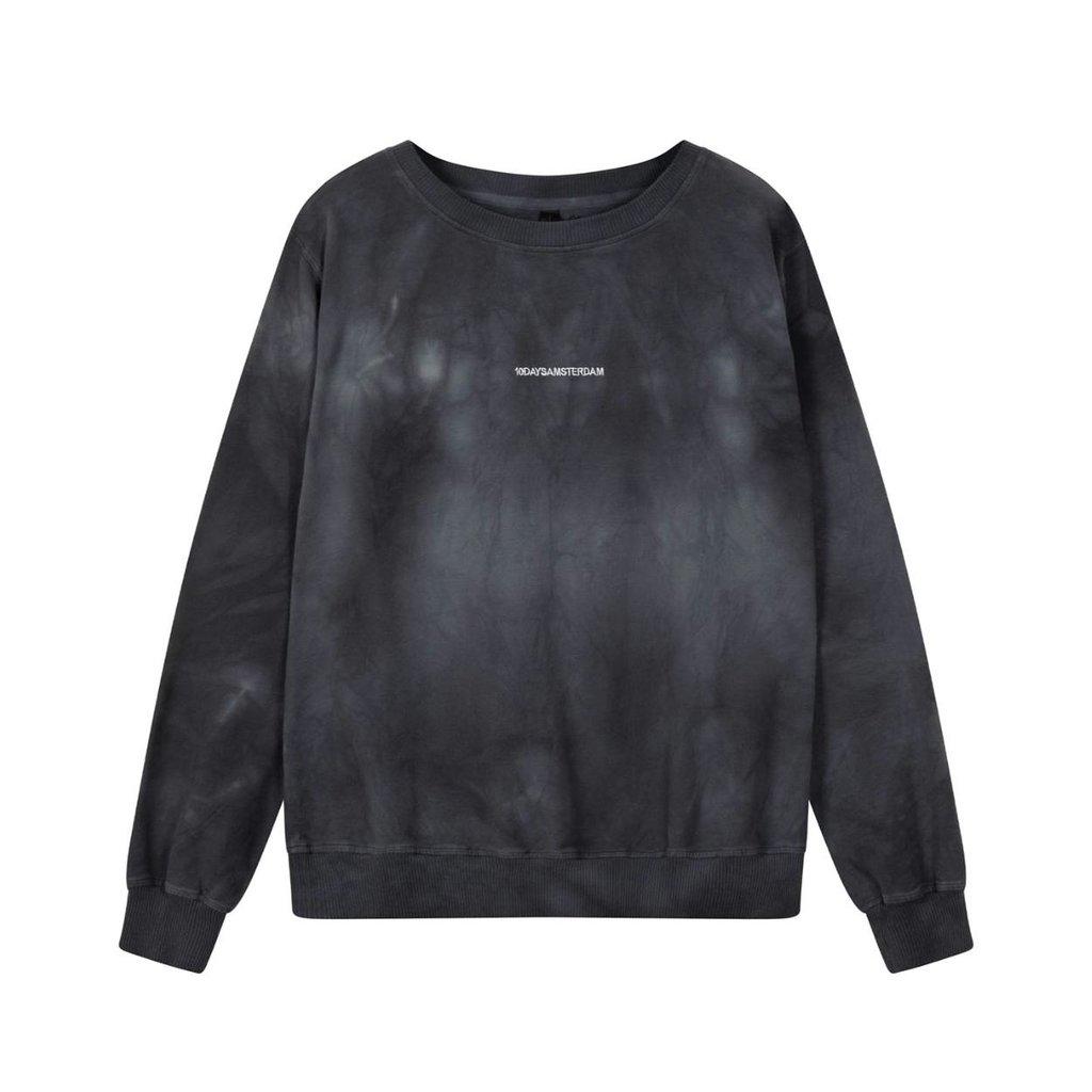 10Days Dark Grey Blue crew neck sweater tie dye 20-805-1201