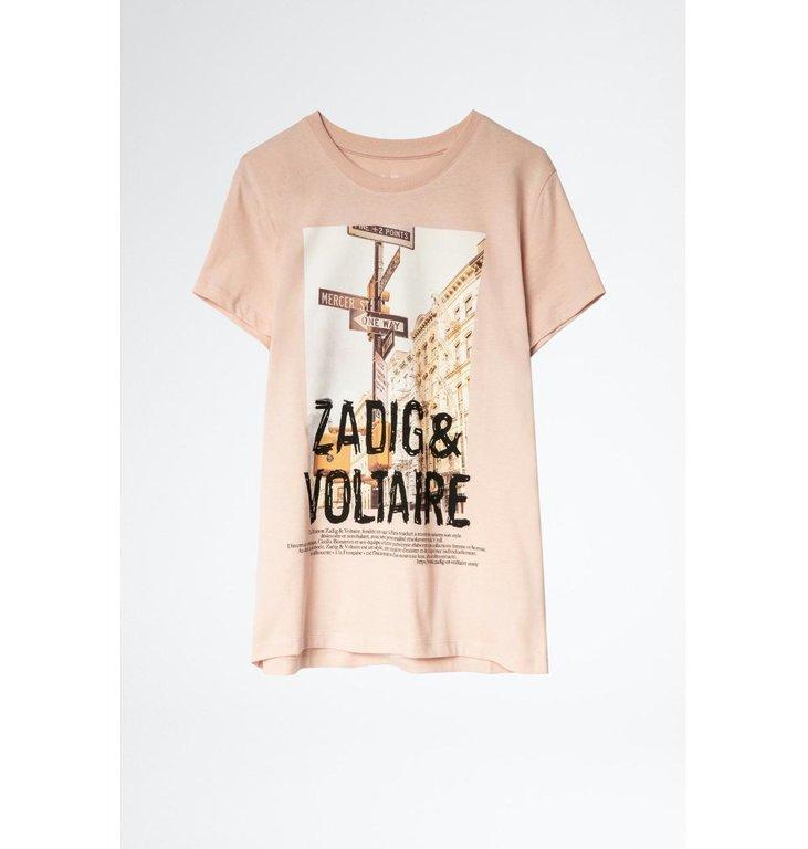 Zadig & Voltaire Zadig & Voltaire Light Pink T-shirt Zoe Photoprint