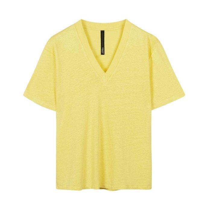 10Days Yellow v-neck tee linen 20-748-1201