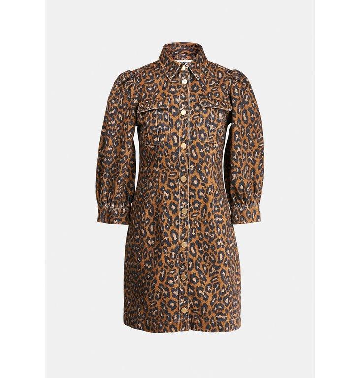 Essentiel Antwerp Essentiel Antwerp Leopard Print Denim Dress Zeel