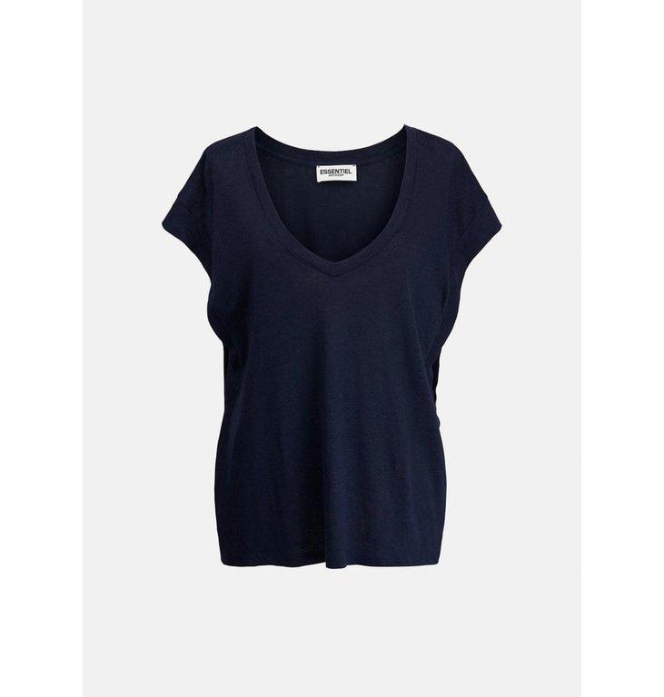 Essentiel Antwerp Essentiel Antwerp Navy Blue T-shirt V-neck Zinnia