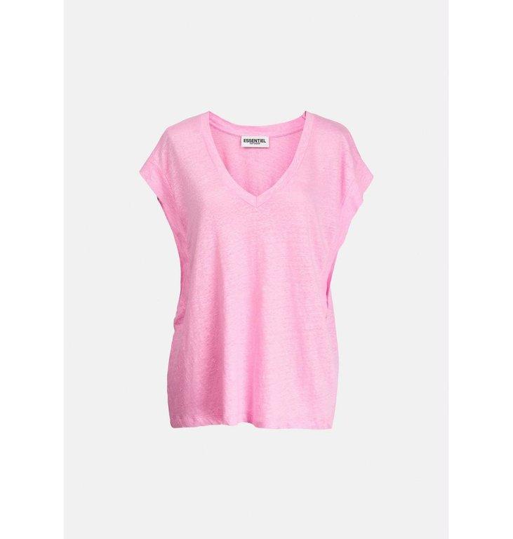 Essentiel Antwerp Essentiel Antwerp Pink T-shirt V-neck Zinnia