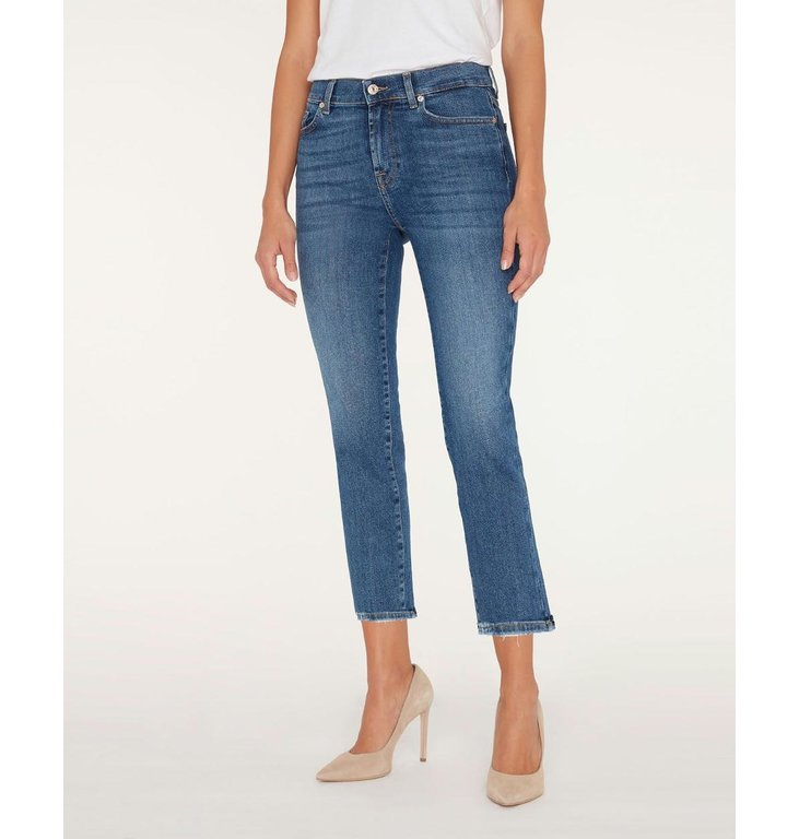 7 For All Mankind 7 For All Mankind Denim Blue Straight Cropped JSYX44A0