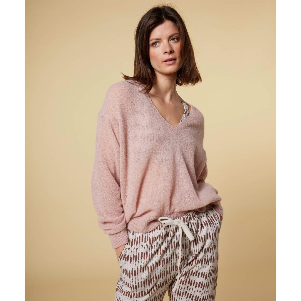 10Days Light Pink v-neck sweater alpaca 20-600-1201