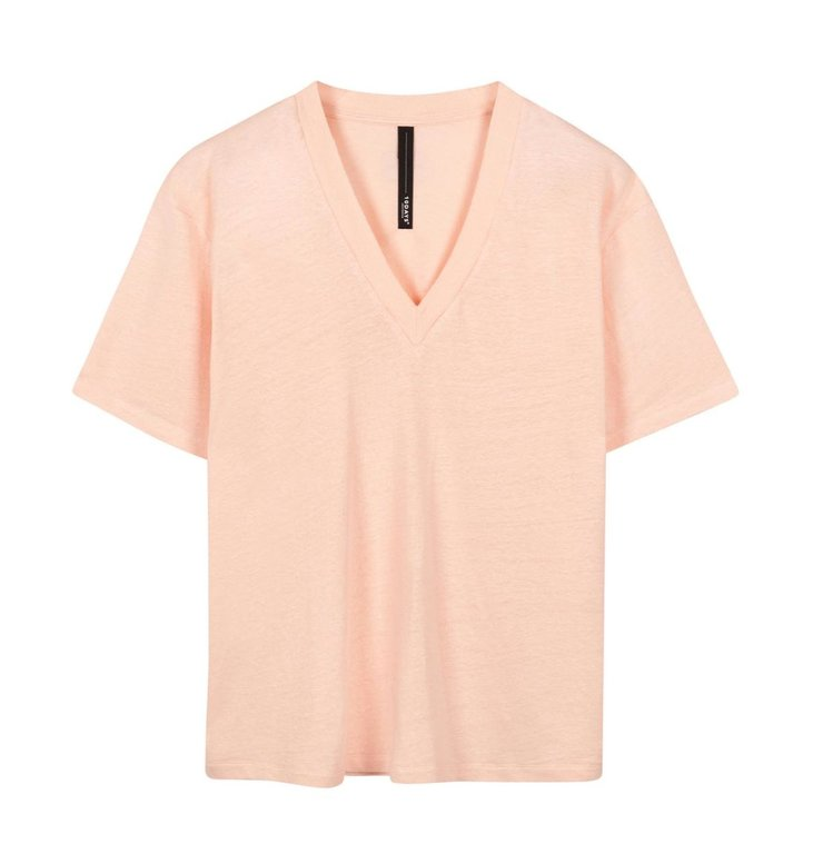 10Days 10Days Light Pink v-neck tee linen 20-748-1201
