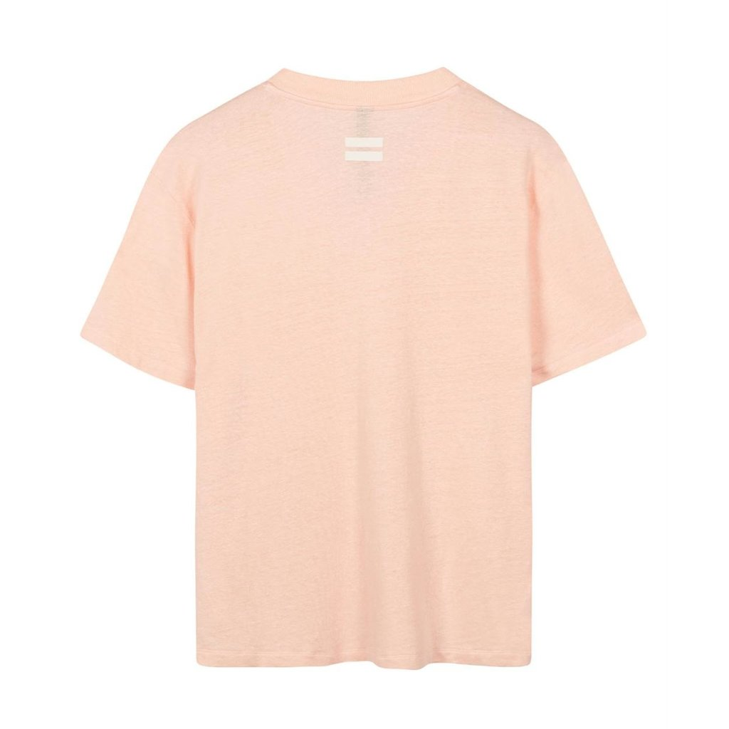 10Days Light Pink v-neck tee linen 20-748-1201
