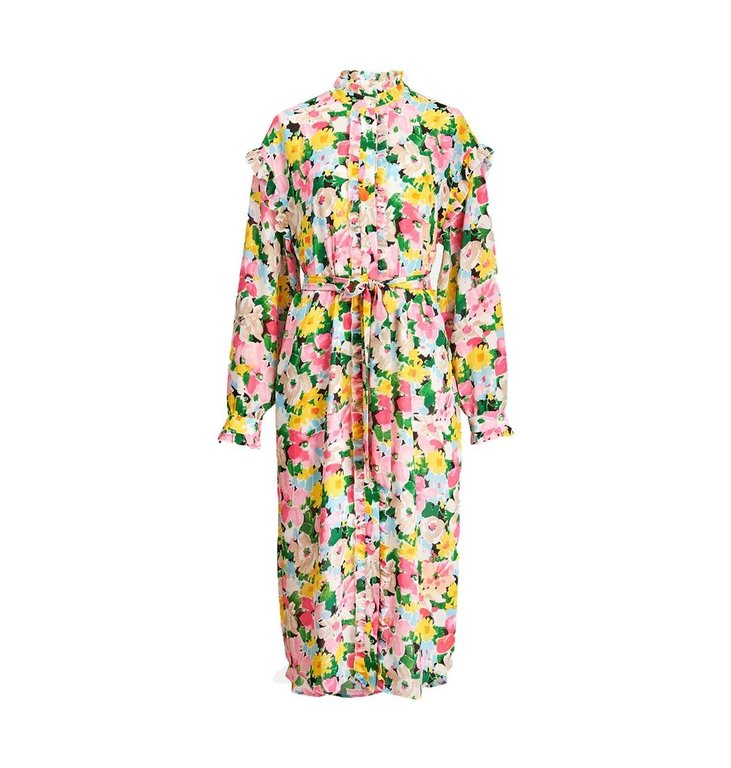 Essentiel Antwerp Essentiel Antwerp Floral Ruffle Detail Shirtdress Zider