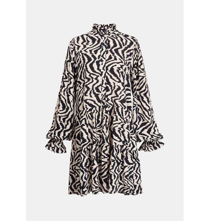 Essentiel Antwerp Essentiel Antwerp Soft White/Black Ruffled Collar Dress Zoku