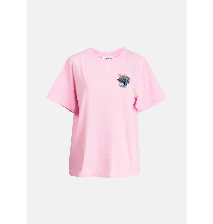 Essentiel Antwerp Essentiel Antwerp Pink T-shirt With Embo Ziland