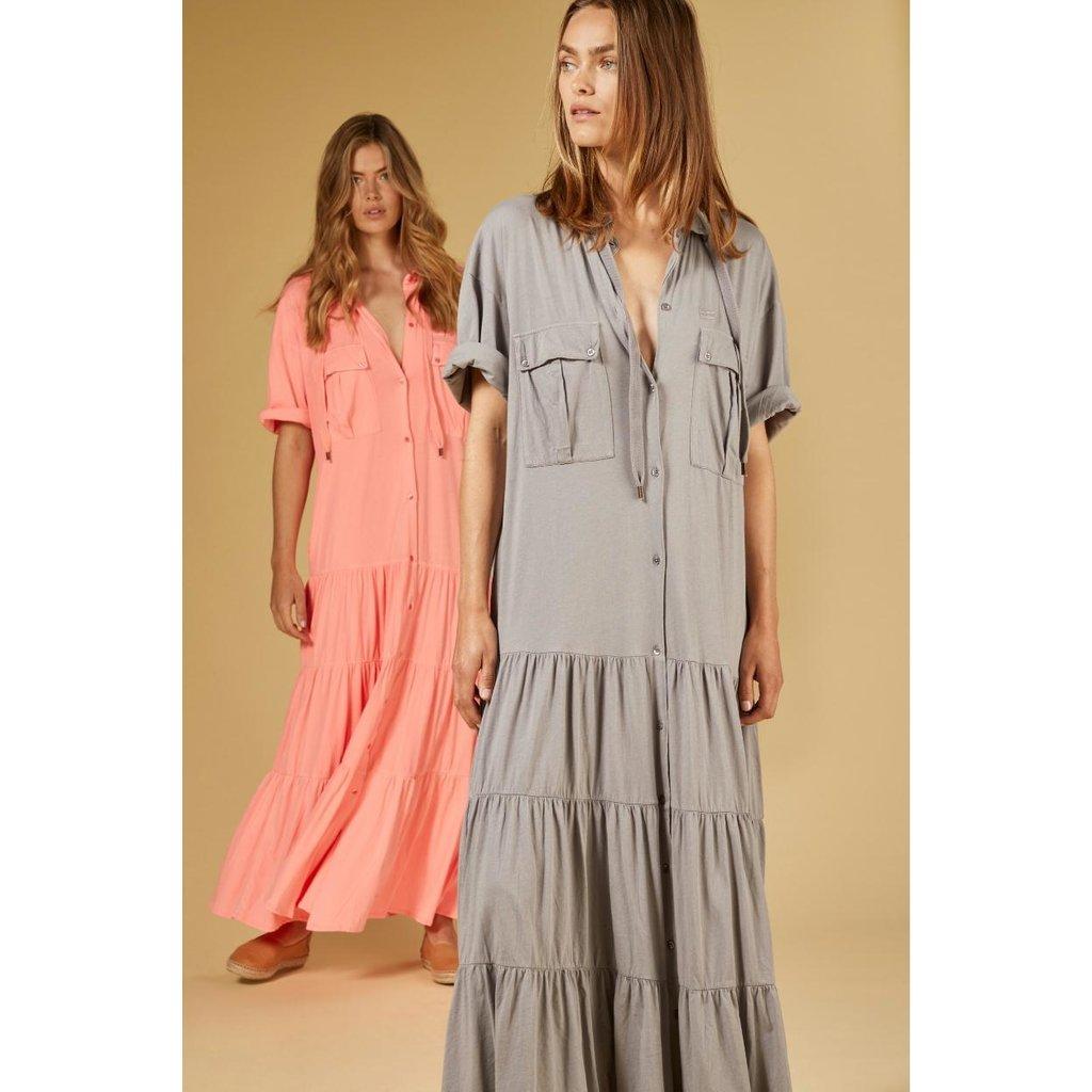 10Days Peach maxi shirt dress 20-310-1201