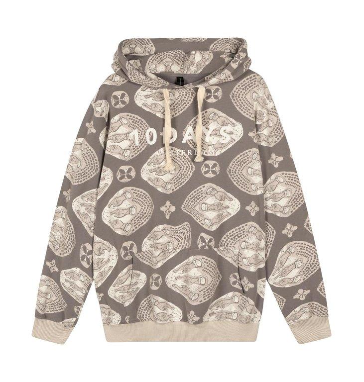 10Days 10Days Grey hoodie Ethnic Tonal 20-814-1201