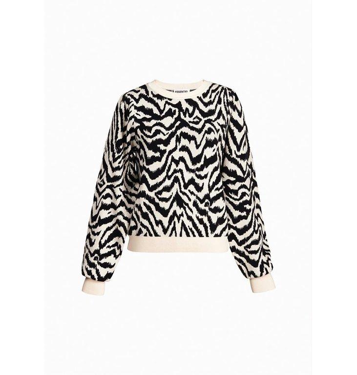 Essentiel Antwerp Essentiel Antwerp Soft White/Black Animal Pattern Sweater Zhello