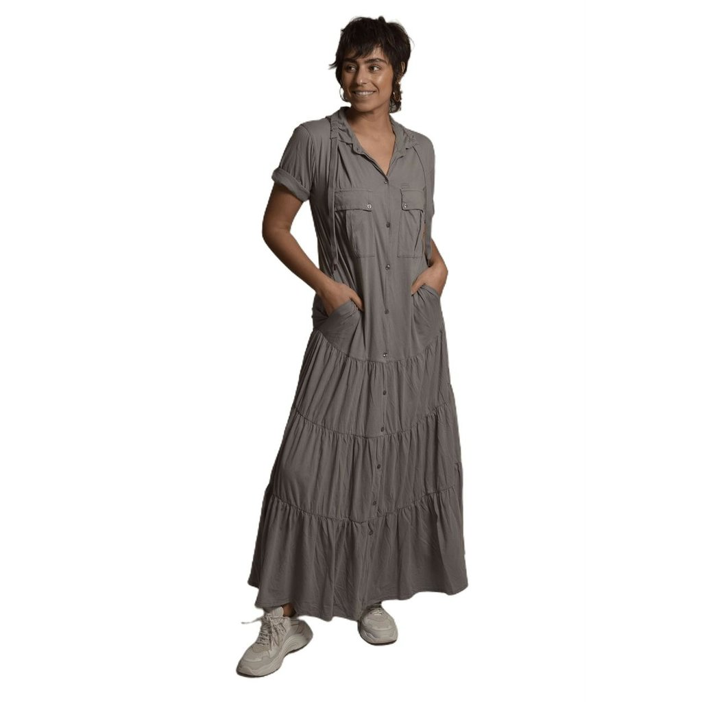 10Days Grey maxi shirt dress 20-310-1201