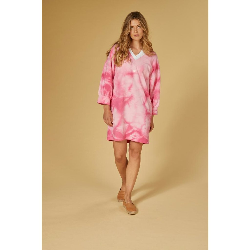 10Days Pink v-neck tunic tie dye 20-338-1201