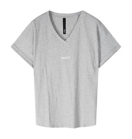 10Days 10Days Grey v-neck tee crinkle jersey 20-749-1201