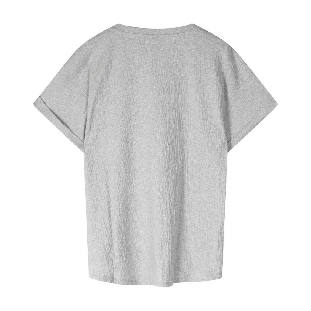 10Days Grey v-neck tee crinkle jersey 20-749-1201