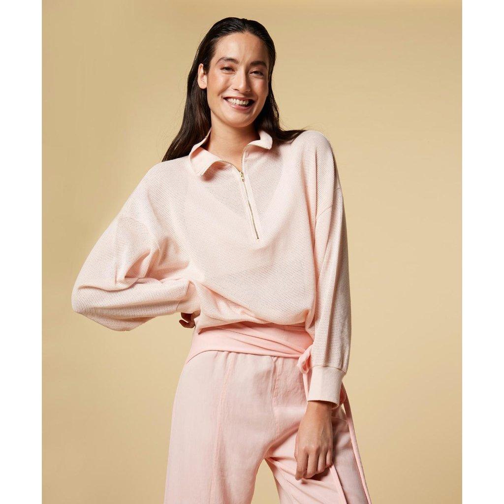 10Days Soft Pink high neck sweater mesh 20-809-1201