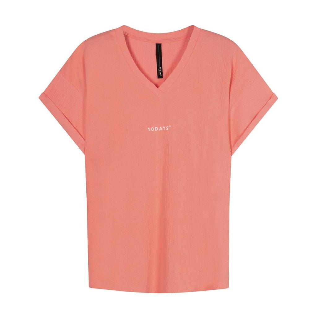 10Days Peach v-neck tee crinkle jersey 20-749-1201