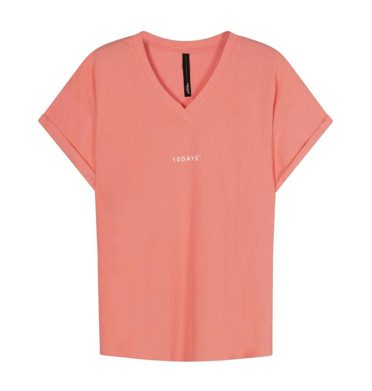 10Days 10Days Peach v-neck tee crinkle jersey 20-749-1201