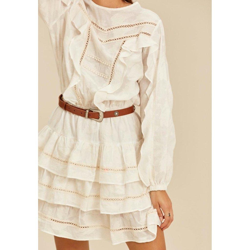 Devotion Luxor cream Short Dress With Ruffle 021302G