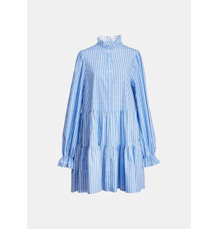 Essentiel Antwerp Essentiel Antwerp Blue/Soft White Cotton Pop Dress Zinga