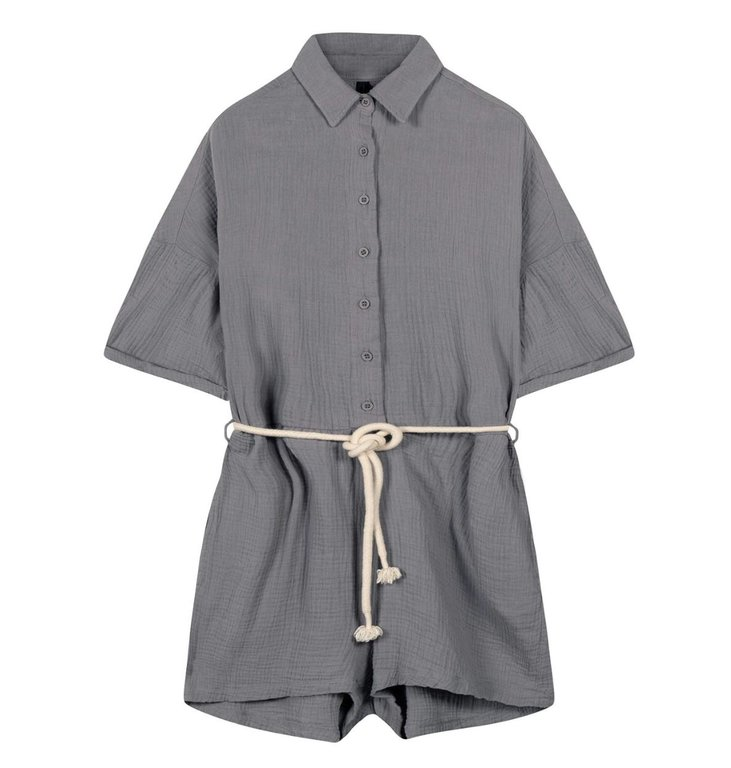 10Days 10Days Grey short jumpsuit crinkle 20-088-1201