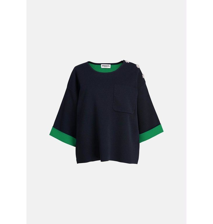 Essentiel Antwerp Essentiel Antwerp Blue Short Sleeved Sweater Zapan