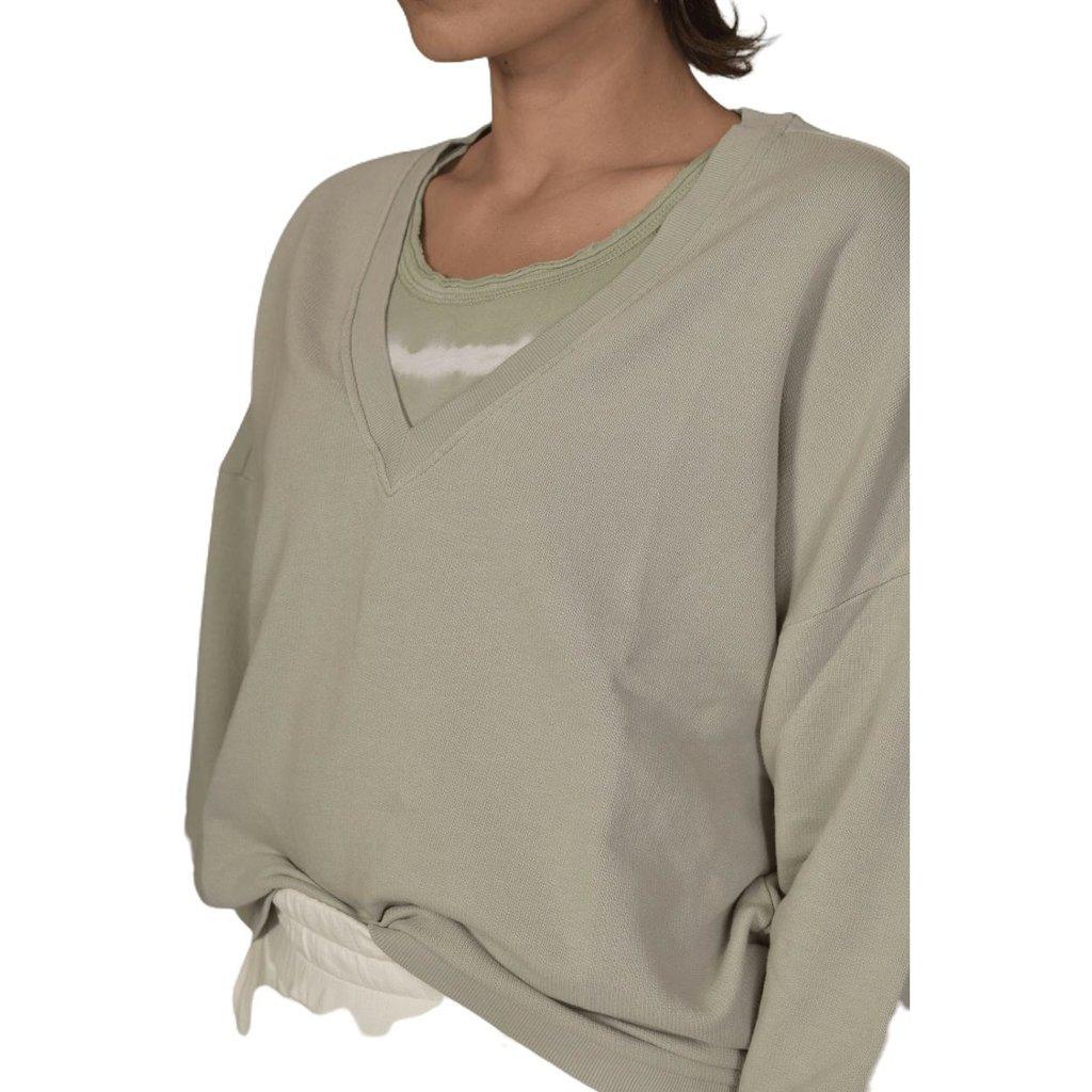 10Days Pistache v-neck sweater 20-805-1202
